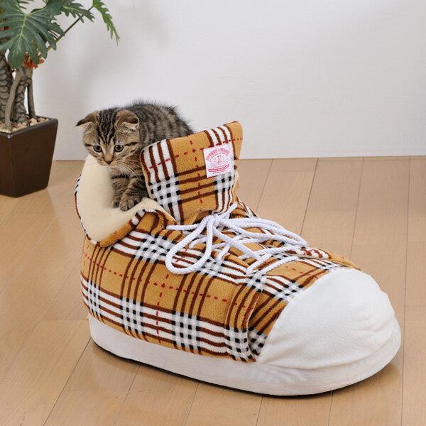 【あす楽】【大特価!】 シューズクッション チェックブラウン ボンビアルコン / 犬猫用ハウスベッド ドーム型ベッド 4977082796540 靴 くつ型ベッド ハウス あったか 冬物 防寒 #w-143620