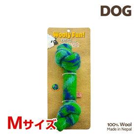 【7/26まで!マラソンSALE開催中☆】【あす楽】[ウーリーファン]Wooly Fun!! KNOTTED BONES 6.5 グリーン Mサイズ ウール おもちゃ 犬用 コスゲ 734663850138 w-154237-00-00