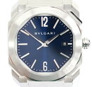 【BVLGARI】ブルガリオクトソロテンポデイト文字盤ブルー時計腕時計メンズ自動巻きオートマチックBGO38【中古】
