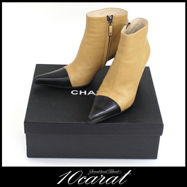 【CHANEL】シャネル ショートブーツ レディース シューズ 靴 23.5cm バイカラー レザー ベージュ ブラック 【中古】