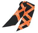 【展示品】【HERMES】エルメス ツイリー ツイリースカーフ ブラック オレンジ 定番ロゴ ホースデザイン シルク100%【…
