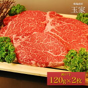 神戸牛ヘレステーキ肉約120g×2枚