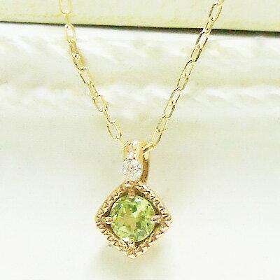 ネックレス レディース 誕生石をお守りに。8月のストーン ペリドット をダイヤモンドが見守る、シンプルネックレス・K10イエローゴールド 8月の誕生石 シンプル 誕生日 プレゼント 10K 10金 YG ミル打ち 一粒