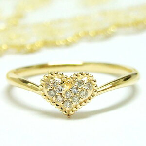 -Love Heart-永遠のモチーフ、ハート。パヴェダイヤを可愛い粒で取り囲んだしっとり大人のハート。K10イエローゴールド指輪【4月の誕生石】シンプル 誕生日 プレゼント【11時のTeatime 贈り物