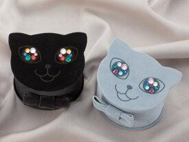 おめめがキラリ☆にゃんにゃんにゃんこのジュエリーボックス(ブラック・ロシアンブルー)誕生日 プレゼント ジュエリー収納 アクセサリーボックス ジュエリーケース ねこ NEKO 猫【11時のTeatime おしゃれ レディース シンプル 大人っぽい ジュエリーショップ】