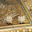 ☆Pure Shine☆シンプルな中にピュアな輝きを集めて!9石のダイヤモンドを散りばめた、繊細なデザインのピアス★K10イエローゴールド・…