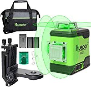 即納Huepar 3x360° レーザー墨出し器 グリーン 緑色 レーザー クロスライン 大矩 フルライン照射モデル 2電源方式 充電可能 軽天マウント 収納バッグ付き 503CG