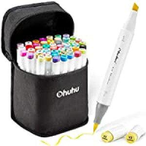 即納Ohuhu マーカーペン 筆タイプ 48色 筆先 ふでタイプ ブレンダーペン付き イラストマーカー 筆・太字 鮮やか 手帳 イラスト 色塗り 塗る絵 カード DIY 子供 大人