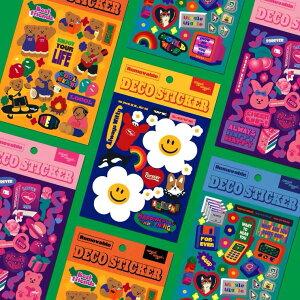 【ビビットレトロステッカー】ステッカー シール 韓国文具 デコシール トレカデコシール デコトレカ トレカケース 韓国 トレカ デコ ダイアリー シール かわいい カラフル 手帳 ポルク KPOP