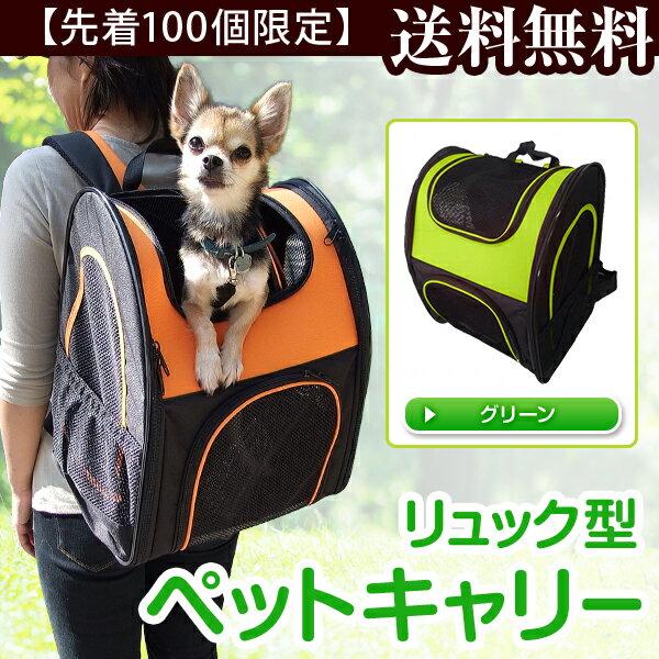 リュック型ペットキャリー ライムグリーン DCC1501【あす楽】