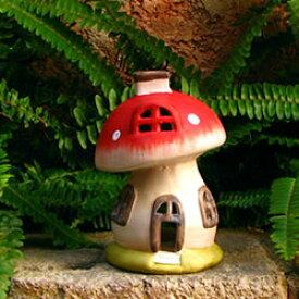 【陶器製】ガーデン きのこ ハウス オーナメント(小/12115)