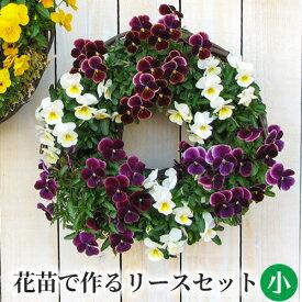 [定番 小] リース セット 花苗で作る ハンギングリース 壁掛け 鉢