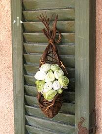 壁掛け 籐 花器 ナチュラル ハンギングバスケット 小(019810)