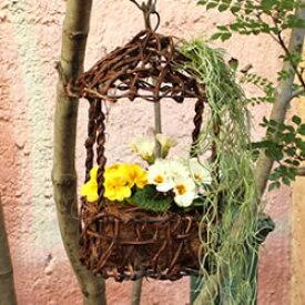 鳥かご オーナメント ハンギング 吊り 籐かご(014363)