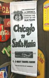 アメリカン雑貨 ROUTE66 グッズ ナイロンフラッグ CHICAGO TO SANTA MONICA WHITE ポスター 看板 タペストリー 旗-AT0103