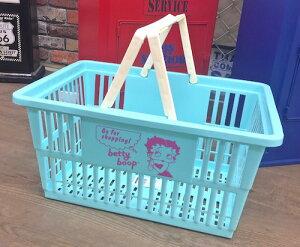 ベティちゃん グッズ アメリカン雑貨 Betty Boop MARKET BASKET ショッピングバスケット カゴ 収納 L BLUE 小物入れ 店舗 ガレージ ディスプレイ