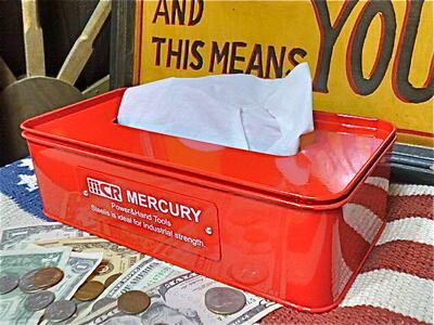 【最大60%OFFタイムセール開催中】アメリカン雑貨★MERCURY ブリキ ティッシュボックス ティッシュケース RED-TY0027