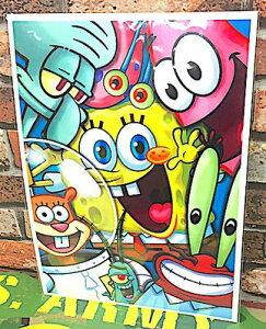 【タイムセール開催中】スポンジボブ グッズ アメリカン雑貨 台紙付きポスター 壁飾り-LA0020