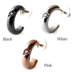 カラーが豊富なシンプルピアス ダイヤモンド使用 おしゃれ プレゼントにもおすすめ シルバーピアス ストーンピアス K10 10Kポスト 金属アレルギー対応 アレルギーフリー ハーフピアス シルバー925 フープピアス メンズ レディース ハートオブコンセプト