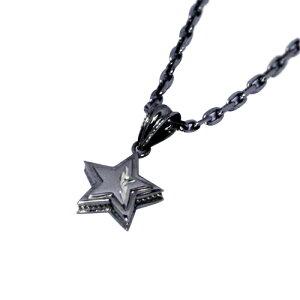 『送料無料』 立体感のあるスターがオシャレ シルバーネックレス ペアネックレス 星 スター 金運 幸運 シルバー ブラック 黒 お揃い 華奢 誕生日 プレゼント シルバー9