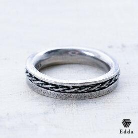 送料込み 選べるサイズ 個性的なデザインのリング ペアリング 人気 プレゼントにもおすすめ おしゃれ かっこいい 指輪 リング 大きいサイズ 燻加工 シルバー925 アンティーク加工 黒 メンズ レディース 19juuku Edda エッダ