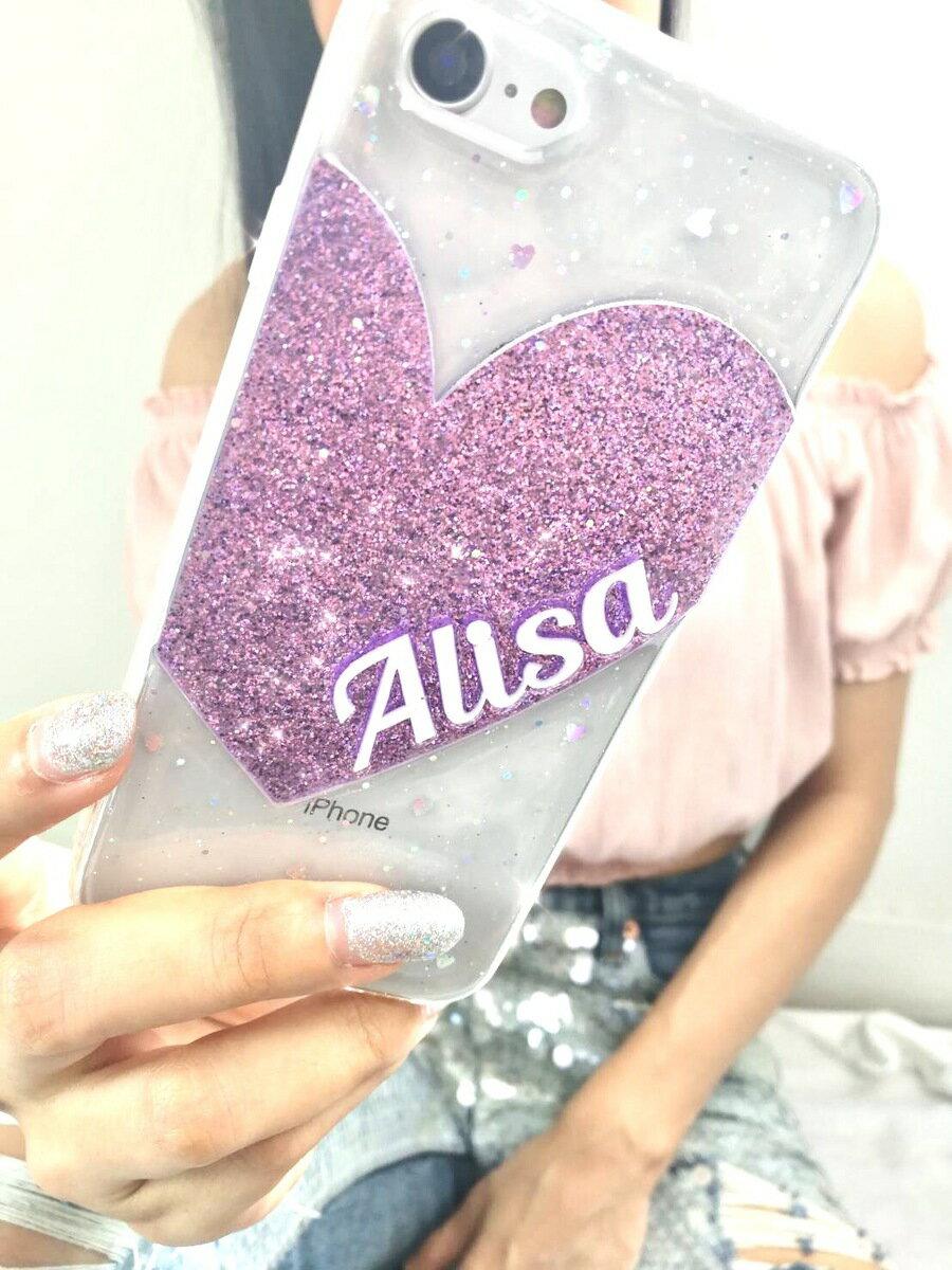 送料無料! srivi(シービー)Violet Gliter Heart オリジナルカスタム携帯ケース★ モバイルケース スマホケース iPhone Plus iPhoneX