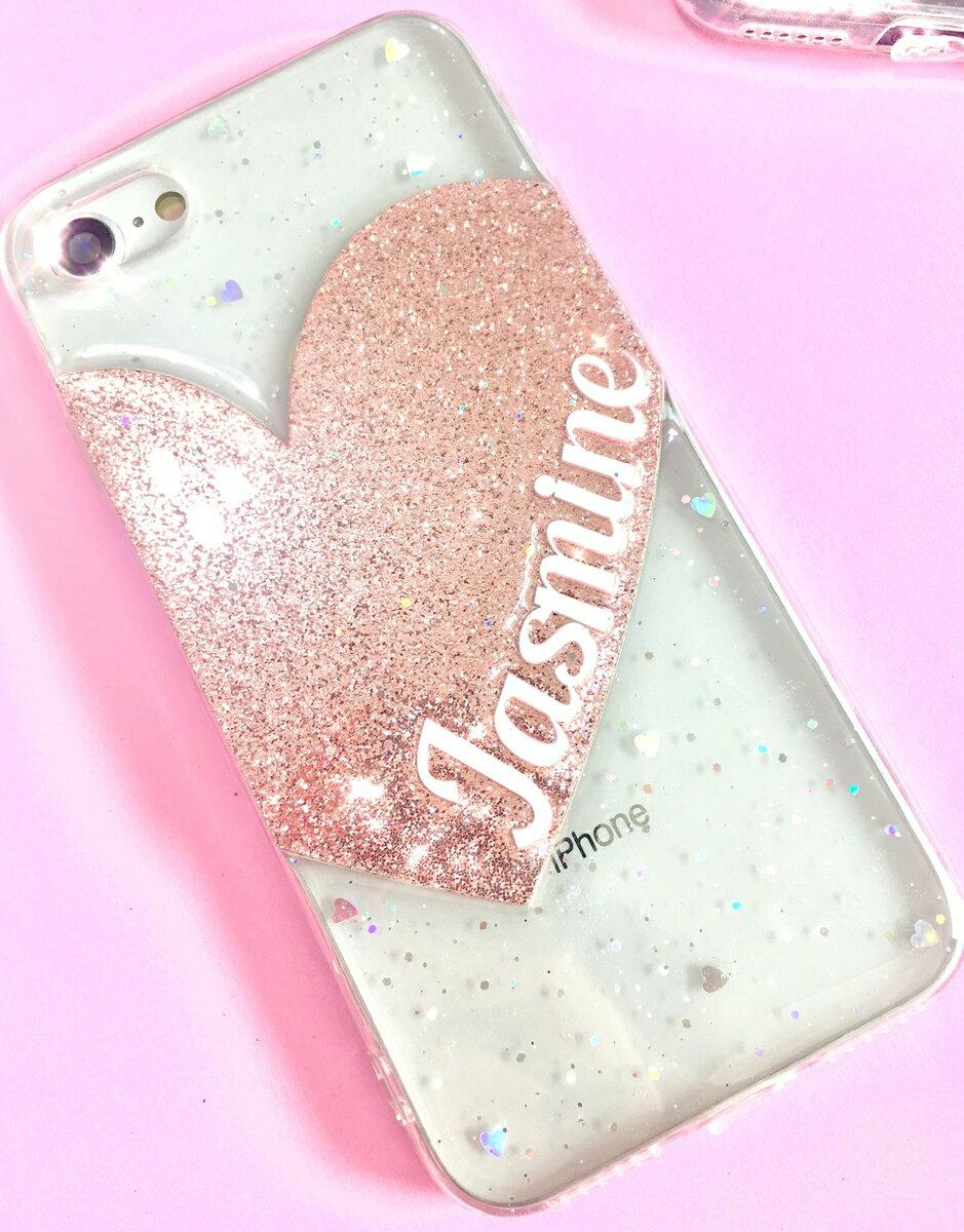 送料無料! srivi(シービー)Pink Gliter Heart オリジナルカスタム携帯ケース★ モバイルケース スマホケース  対応機種も豊富です☆ iPhone Plus iPhoneX