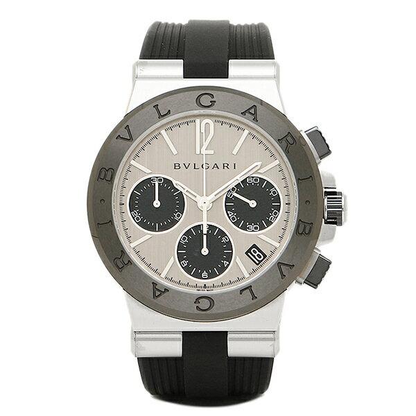 ブルガリ 時計 メンズ BVLGARI DG37C6SCVDCH ディアゴノ ラバー クロノグラフ 腕時計 ウォッチ シルバー/ブラック