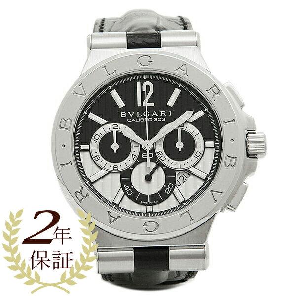 ブルガリ 時計 メンズ BVLGARI DG42BSLDCH ディアゴノ カリブ303 クロノグラフ 腕時計 ウォッチ シルバー/ブラック