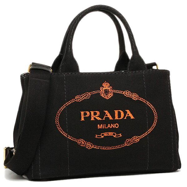 PRADA プラダ トートバッグ レディース 1BG439V ZKIOOX T38 ブラック オレンジ