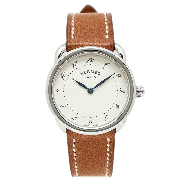 HERMES 腕時計 レディース エルメス 040135WW00 AR5.210.130/VBA-I ブラウン シルバー ホワイト