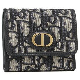 Christian Dior 三つ折り財布 モンテーニュ オブリーク ジャカード ブルー レディース クリスチャンディオール S2057 UTZQ 928U
