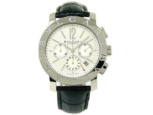 ブルガリ 時計 BVLGARI 腕時計 メンズブルガリ オートマチック クロノグラフ アリゲーターレザー ブラック/ホワイト BB42WSLDCH ウォッチ シリアル有