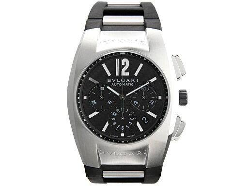 ブルガリ 時計 BVLGARI 腕時計 メンズ エルゴン オートマチック クロノグラフ ラバー ブラック&シルバー/カーボンブラック EG40BSVDCH ウォッチ シリアル有