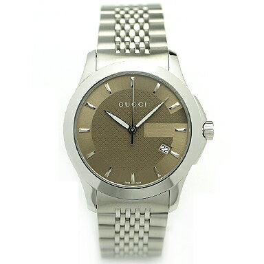 GUCCI グッチ YA126406 ミディアム バージョン Gタイムレス コレクション腕時計 メンズウォッチ シルバー/ブラウン/シルバー