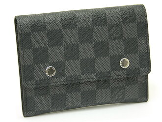 Louis Vuitton wallets LOUIS VUITTON Vuitton N63083 Damien grab fit wallet compact Modula Bell two folding multi function purse