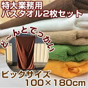【送料無料】特大 業務用バスタオル2枚セット 100×180cm 総パイル 2000匁