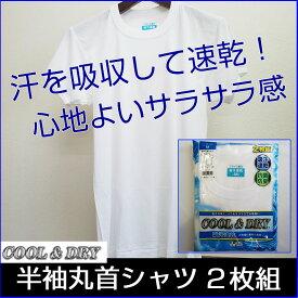 【メール便OK】キャロン 片倉 メンズインナー COOL&DRY 半袖丸首シャツ2枚組抗菌防臭 吸汗速乾 無地 白