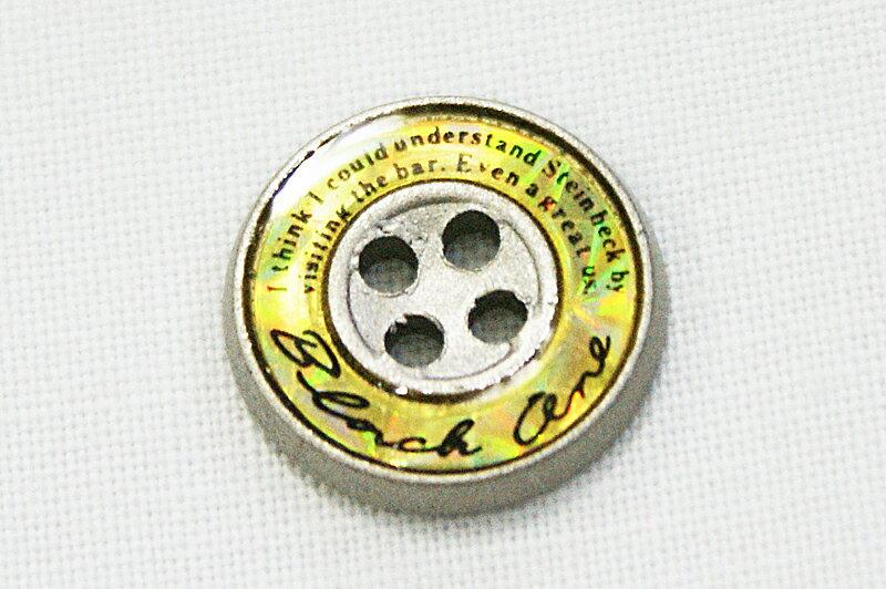 【学生ズボンボタン】ピスボタン(エポキ金属/ロゴ:黒/バック:黄)