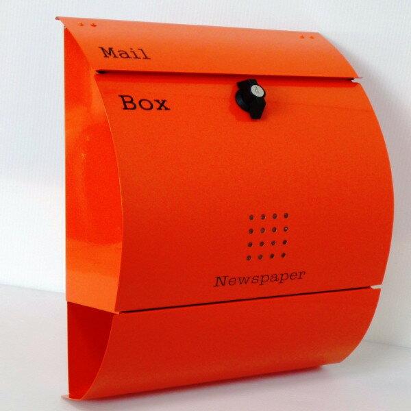 【送料無料】郵便ポスト 郵便受け 錆びない メールボックス壁掛けオレンジ色 ステンレスポスト(orange)