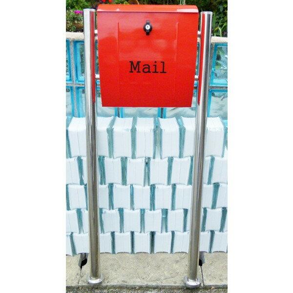 【送料無料】郵便ポスト 郵便受け 錆びない メールボックス スタンドタイプ 赤色 ステンレスポスト(red)