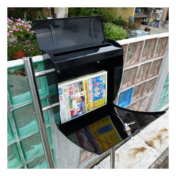 【マラソンでポイント最大39倍】【送料無料】郵便ポスト 郵便受け 錆びない メールボックス スタンドタイプ 黒色 ステンレスポスト(black)