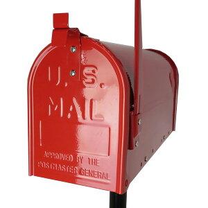 郵便ポスト郵便受けUSメールボックススタンドお洒落なレッド色ポストm084