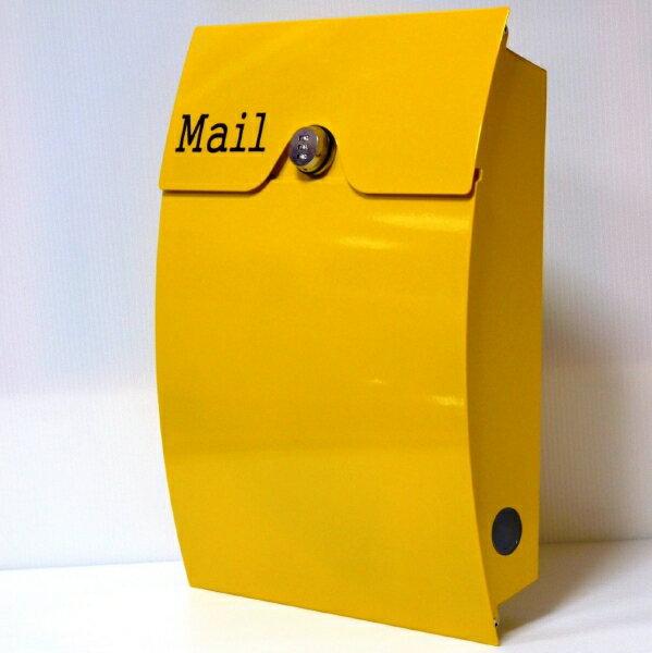 【送料無料】郵便ポスト 郵便受け 錆びない メールボックス壁掛けダイヤル錠付きイエロー黄色 ステンレスポスト(yellow)
