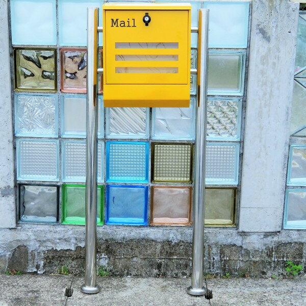 【送料無料】郵便ポスト 郵便受け 錆びない メールボックス スタンドタイプ イエロー黄色 ステンレスポスト(yellow)