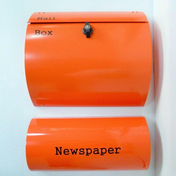 【送料無料】郵便ポスト郵便受けおしゃれかわいい人気北欧モダンデザインメールボックス壁掛けプレミアムステンレス オレンジ色ポスト+新聞紙ホルダー(orange)