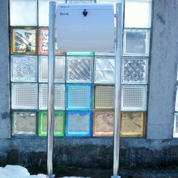 【送料無料】郵便ポスト郵便受けメールボックス大型メール便スタンドタイプ型ホワイト色プレミアムステンレス(white)