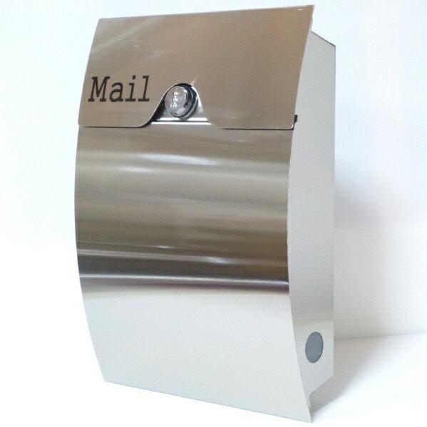 【送料無料】郵便ポスト 郵便受け 錆びない メールボックス壁掛けダイヤル錠付きシルバー色 ステンレスポスト(silver)
