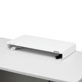 サンワサプライ 電源タップ+USBポート付き机上ラック(W600×D300ホワイト) MR-LC203W