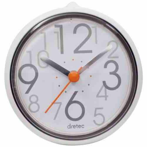 【スーパーセールでポイント最大43倍】DRETEC おふろクロック スパタイム かわいいフォルムの防滴時計 C-110WT2
